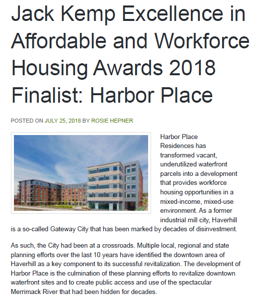 Harbor Place Nominated for Jack Kemp Excellence in Affordable & Workforce Housing Awards 2018