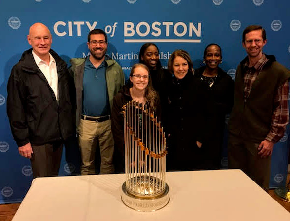 POUA Staff Visit World Series Trophy