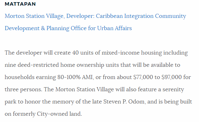 Mayor Walsh Announces Funding For Morton Station Village