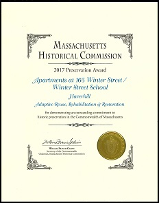Massachusetts Historical Commission Preservation Award 2017